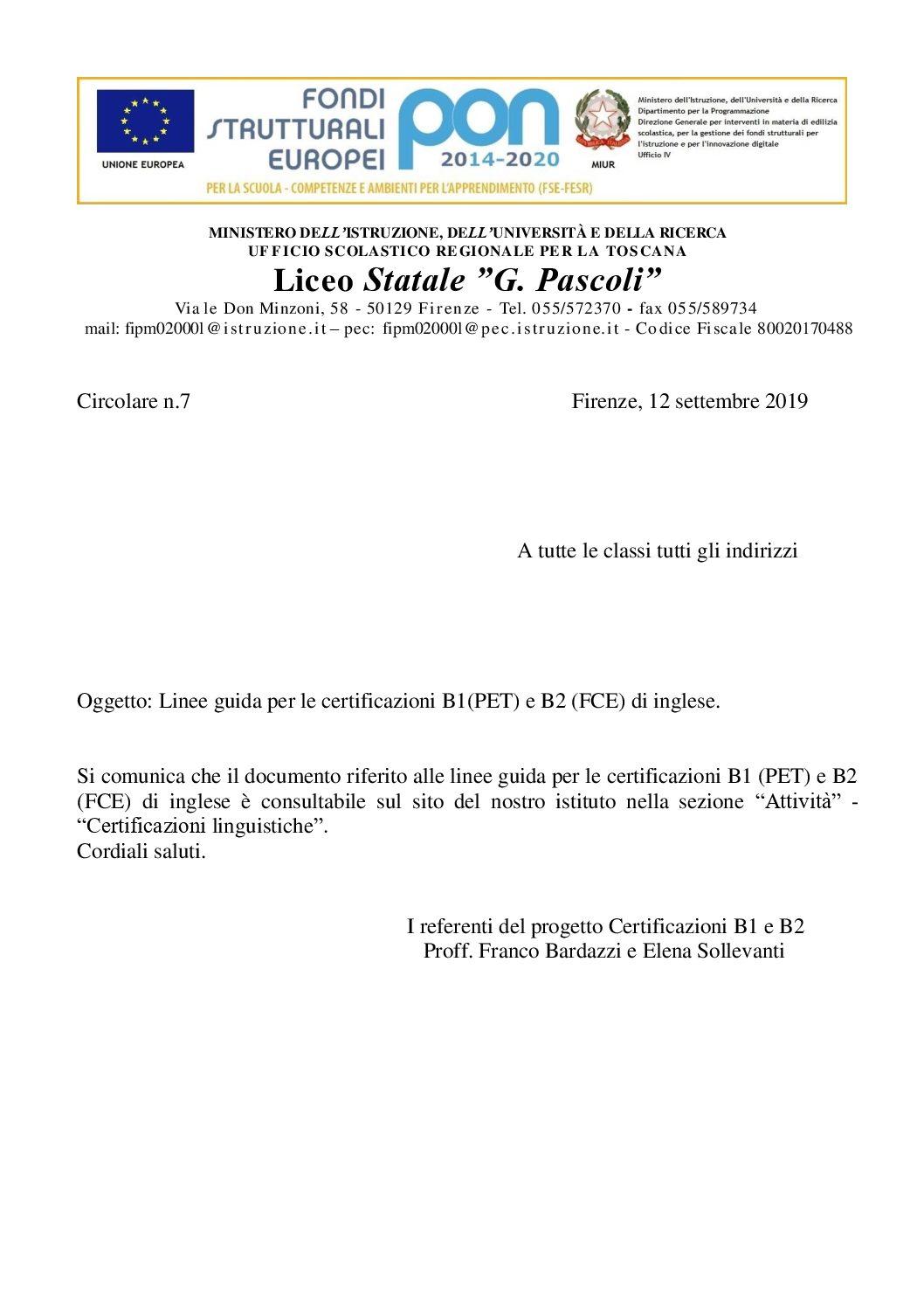 Certificazioni Linguistiche Liceo Statale G Pascoli
